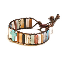 Load image into Gallery viewer, Simple Fashion Christian Cross Bracelet Bead Leather Weave Bracelet Hand Strap Women Girls