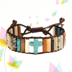 Simple Fashion Christian Cross Bracelet Bead Leather Weave Bracelet Hand Strap Women Girls