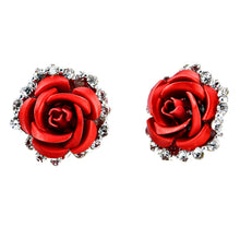 Load image into Gallery viewer, Fashion Alloy Crystal Rhinestone Ear Stud Earrings for Women Girl Rose Flower Red Blue Optional Gift