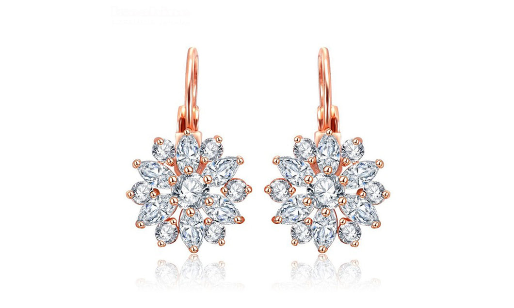 Luxury Flower Stud Earrings With AAA Zircon Stone Women Birthday Gift