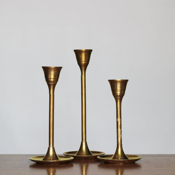 Small Brass Candle Holders, Set of Three