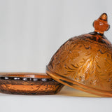 Amber Glass Blown Butter Dish