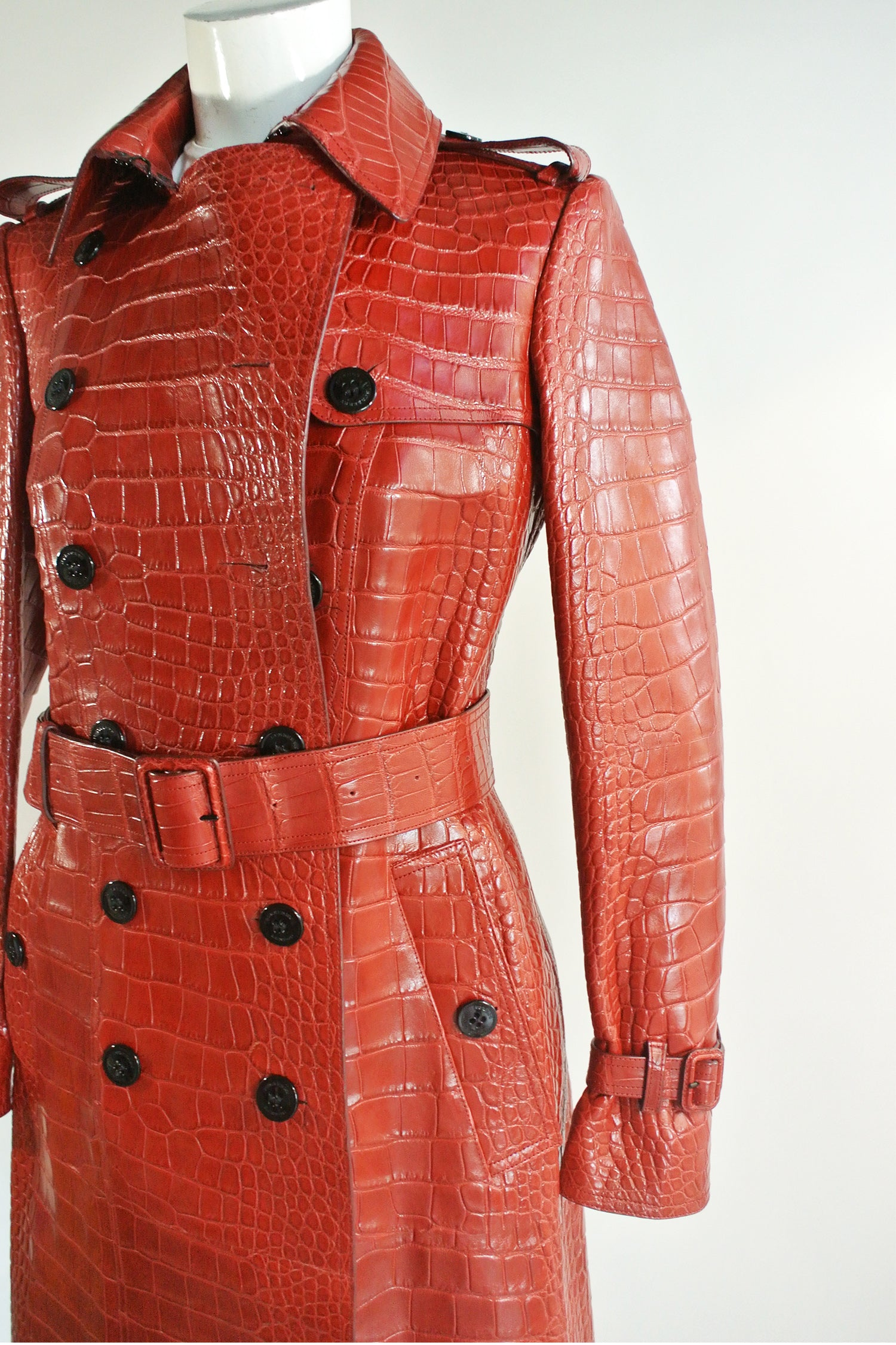 Burberry Lacquer Red Alligator Trench NWT Sz US 4