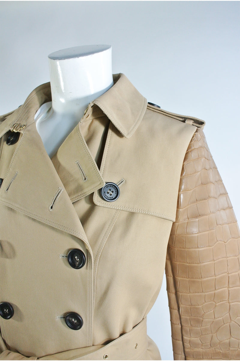 Burberry Tan Gabardine Trench w Alligator Sleeves NWT Sz 6