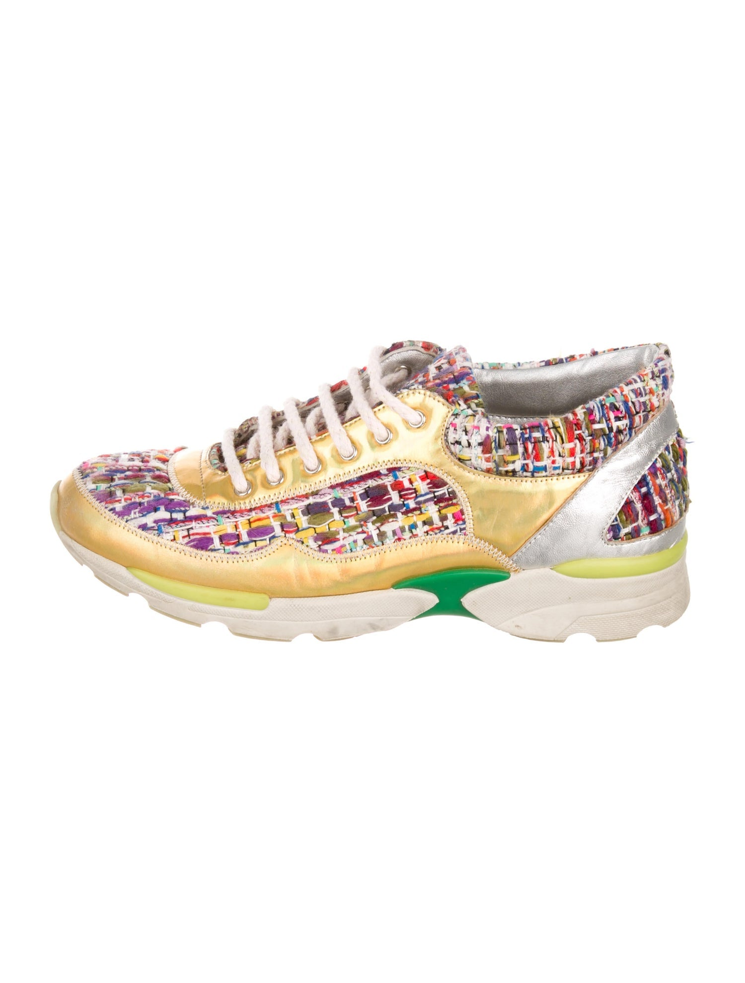 Chanel Tweed Holographic CC Sneakers