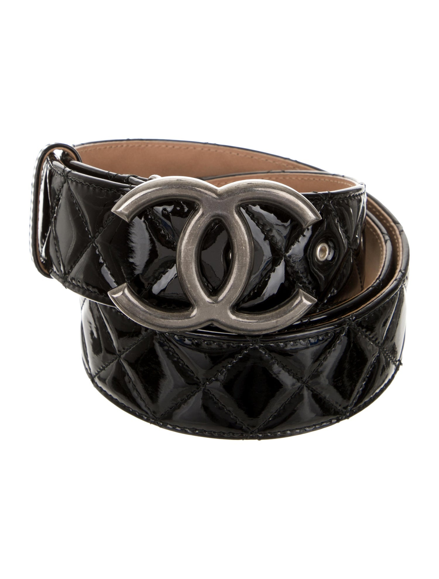 Chanel Quilted Patent Belt Sz 90