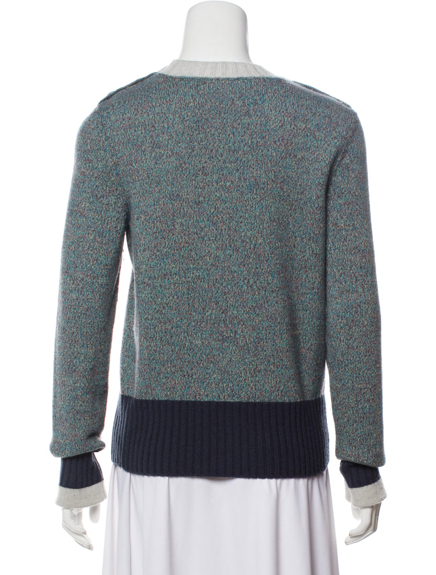 Chanel 2017 Wool Colorblock Sweater Sz 38