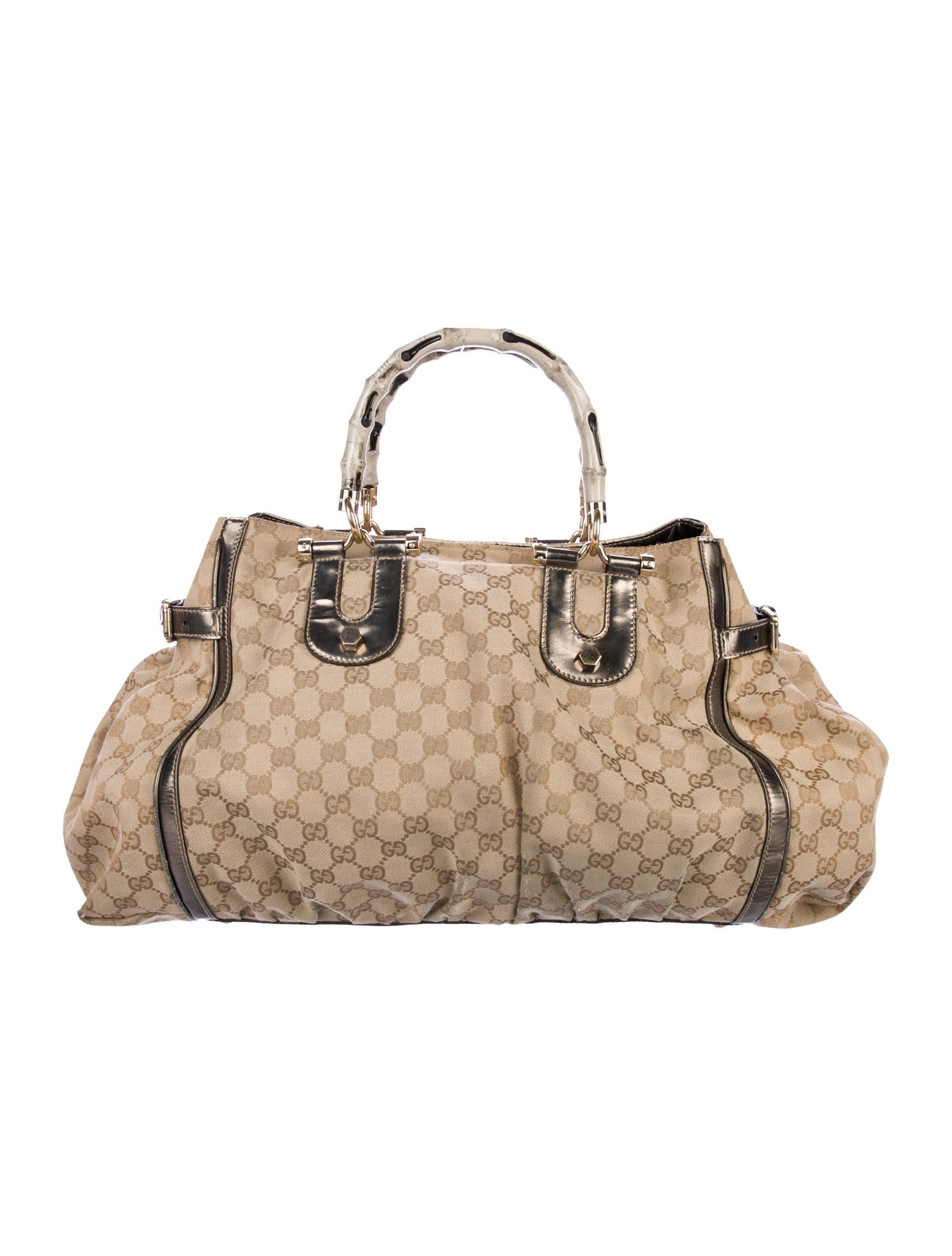 Gucci Monogram Pop Bamboo Handle Crossbody Bag