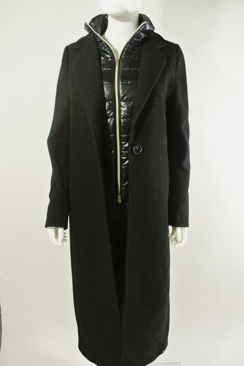 Herno Wool Long Coat w Puffer Lining Sz 42