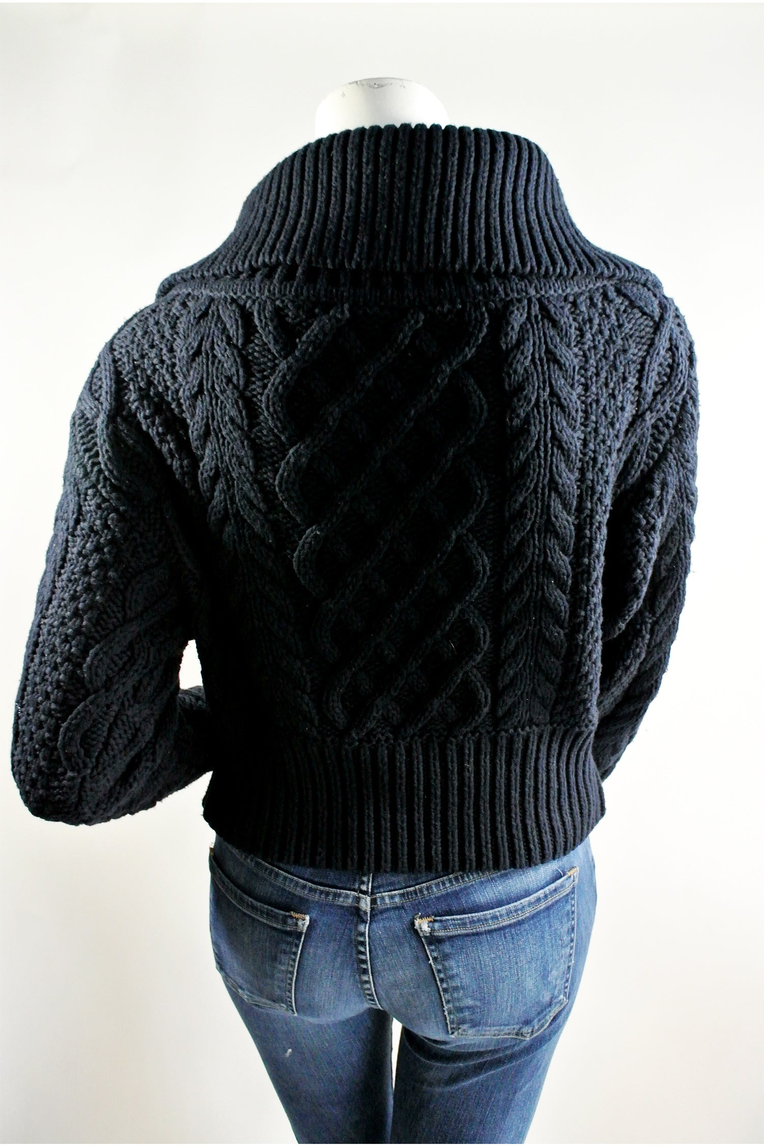 Self Portrait Zipped Cableknit Cardigan Sz S 2018