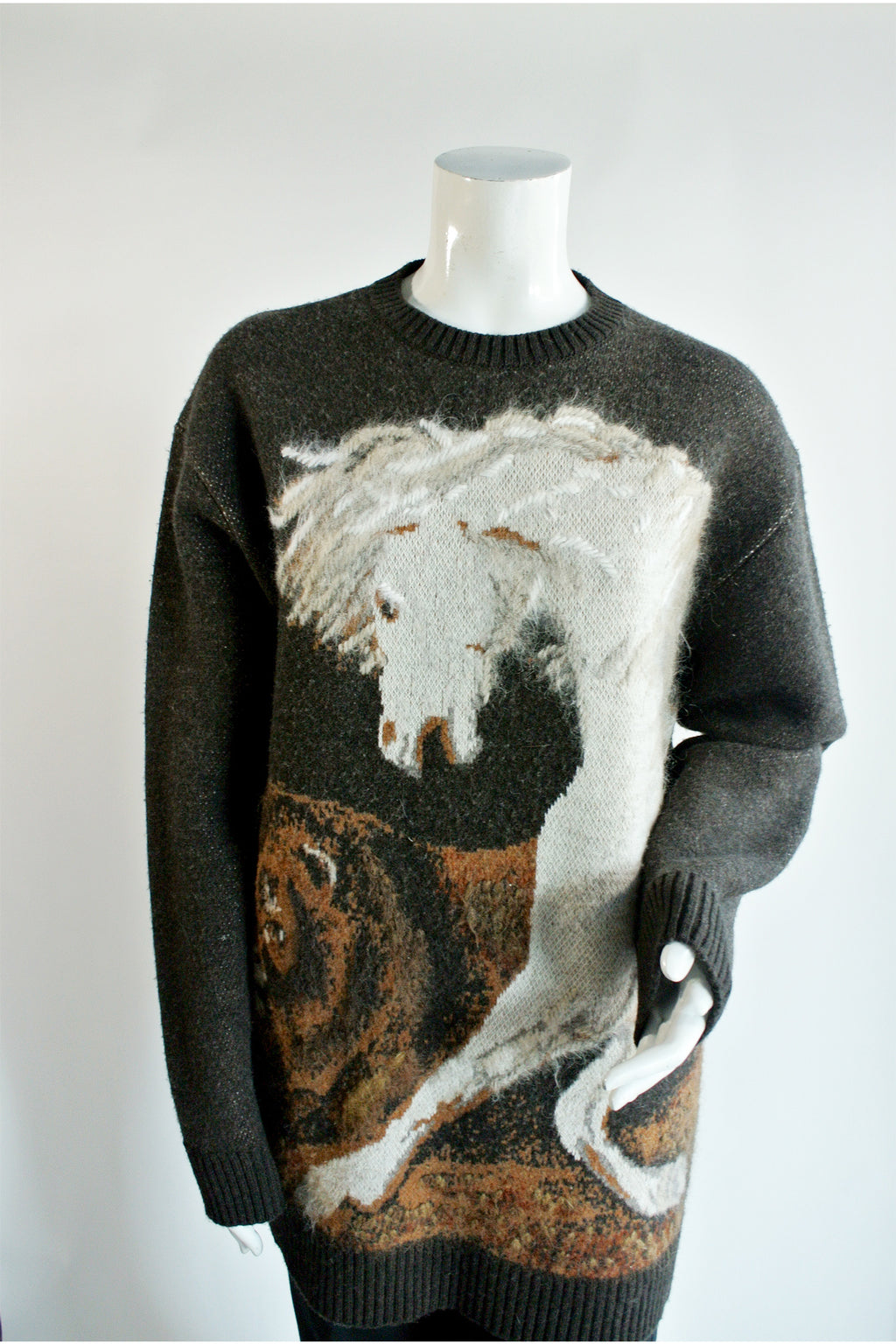 Stella McCartney Horse Intarsia Virgin Wool Crewneck Sweater Sz 44