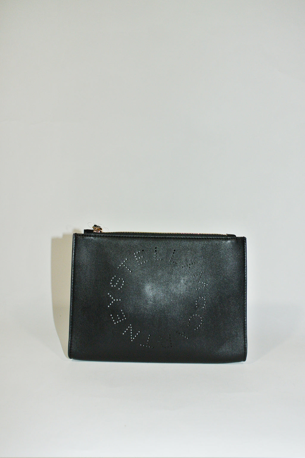 Stella McCartney Vegan Leather Black Logo Clutch Bag