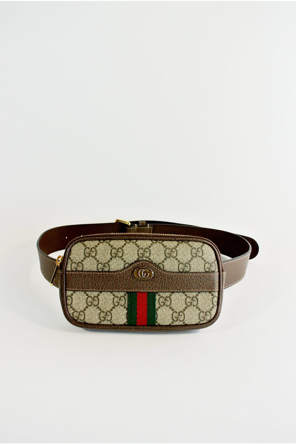 Gucci Brown GG Supreme Ophidia iPhone Case Belt Bag