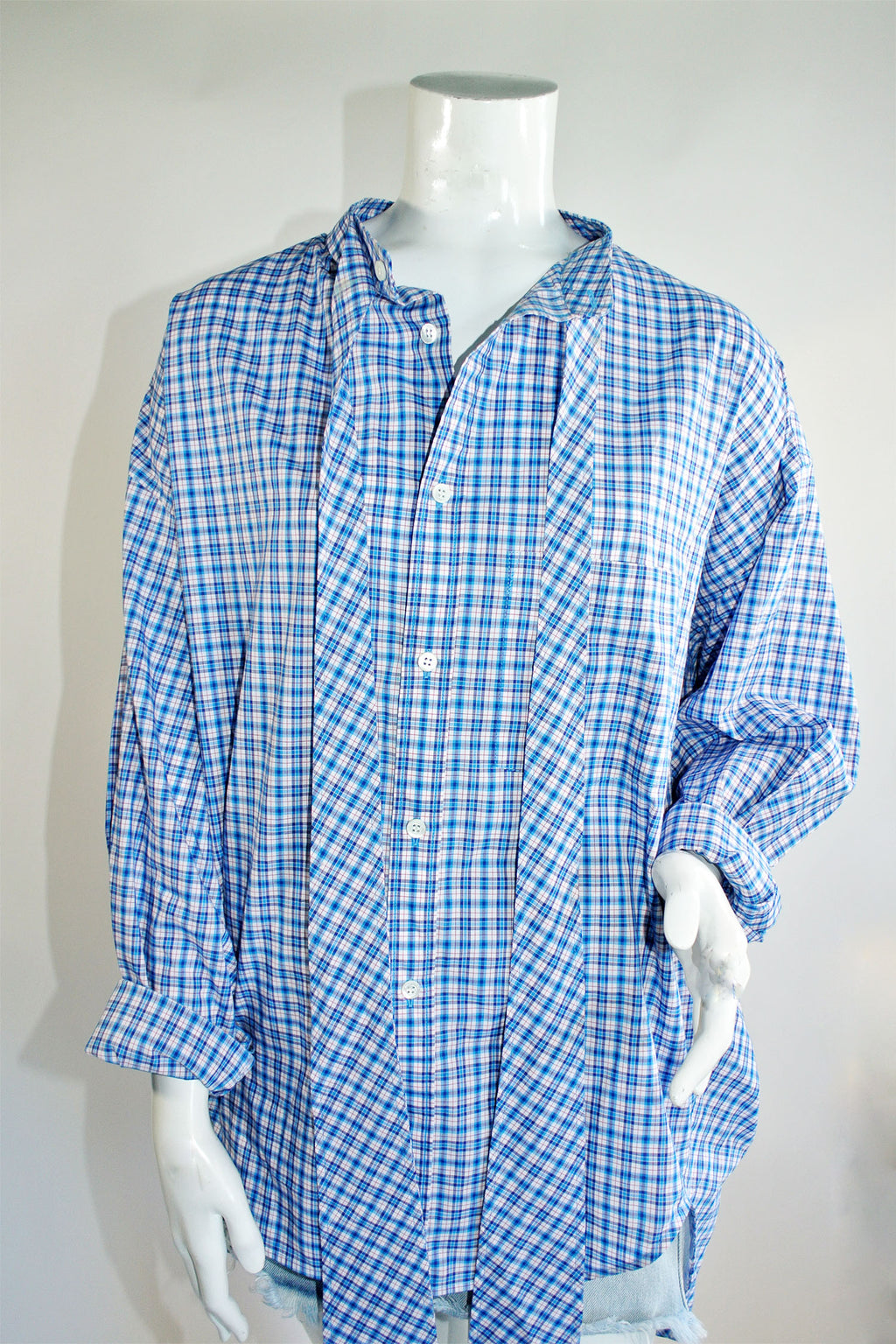 Balenciaga 2018 Plaid Top w Logo Print at Back Sz 38