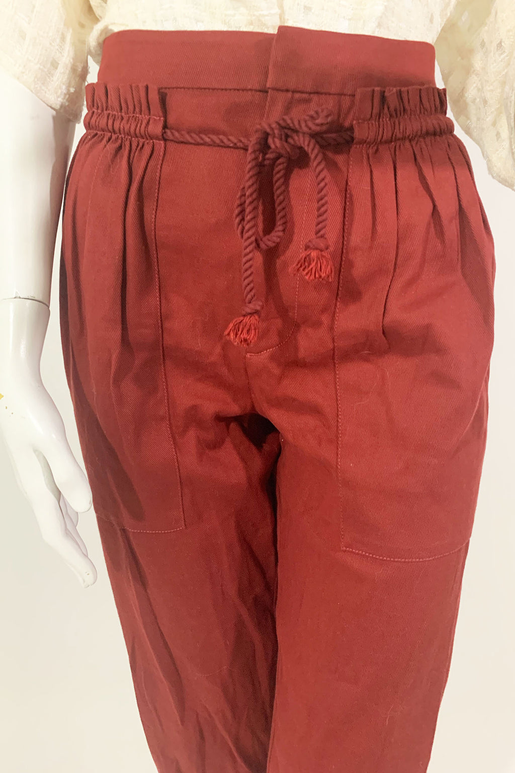 See by Chloe Drawstring Waist Burnt Red Pants Sz 38