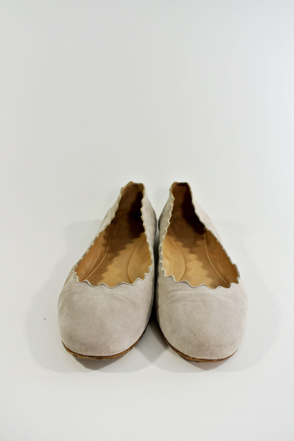 Chloe Lauren Scalloped Grey Flats sz 36.5