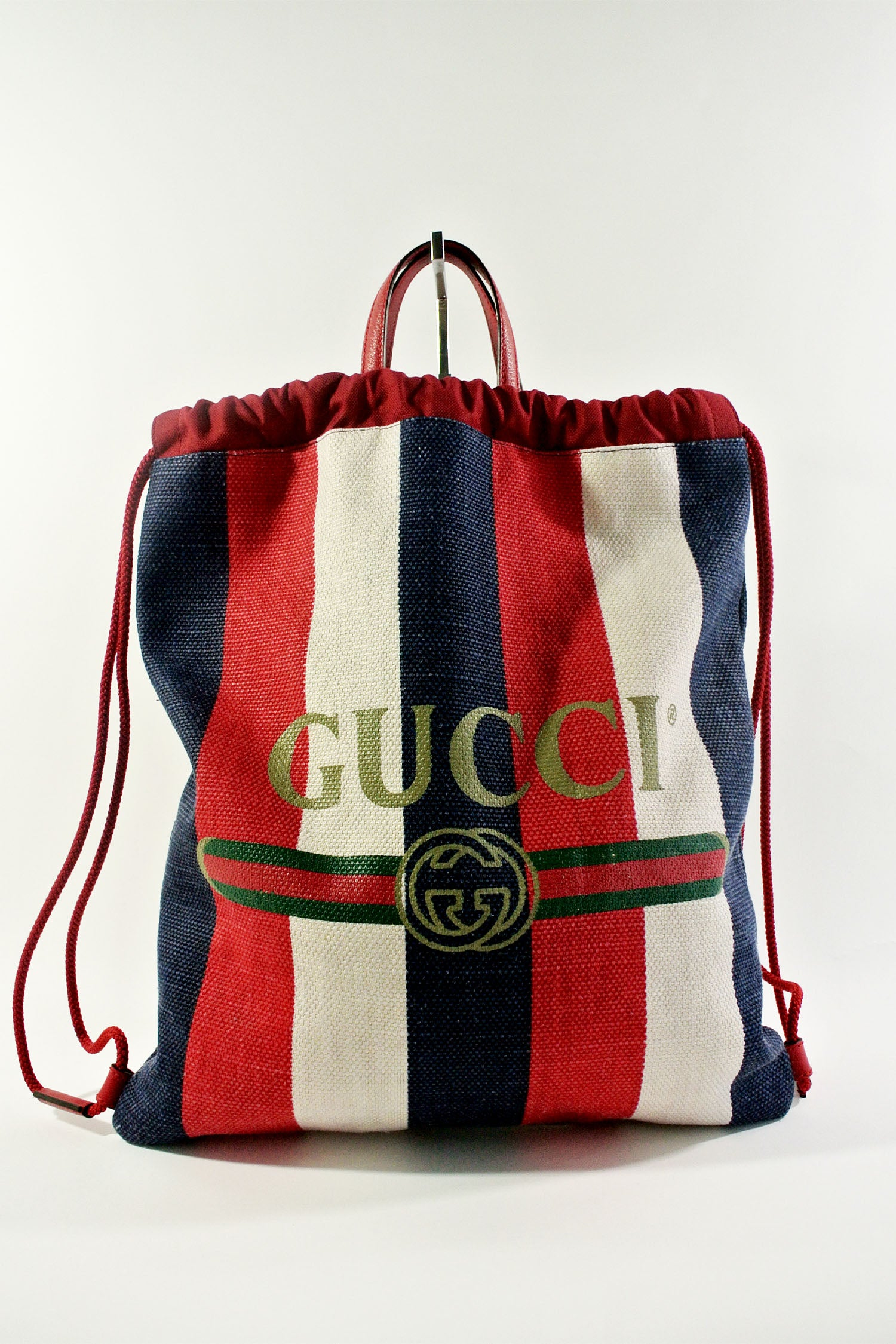 Gucci Striped Canvas Drawstring Backpack