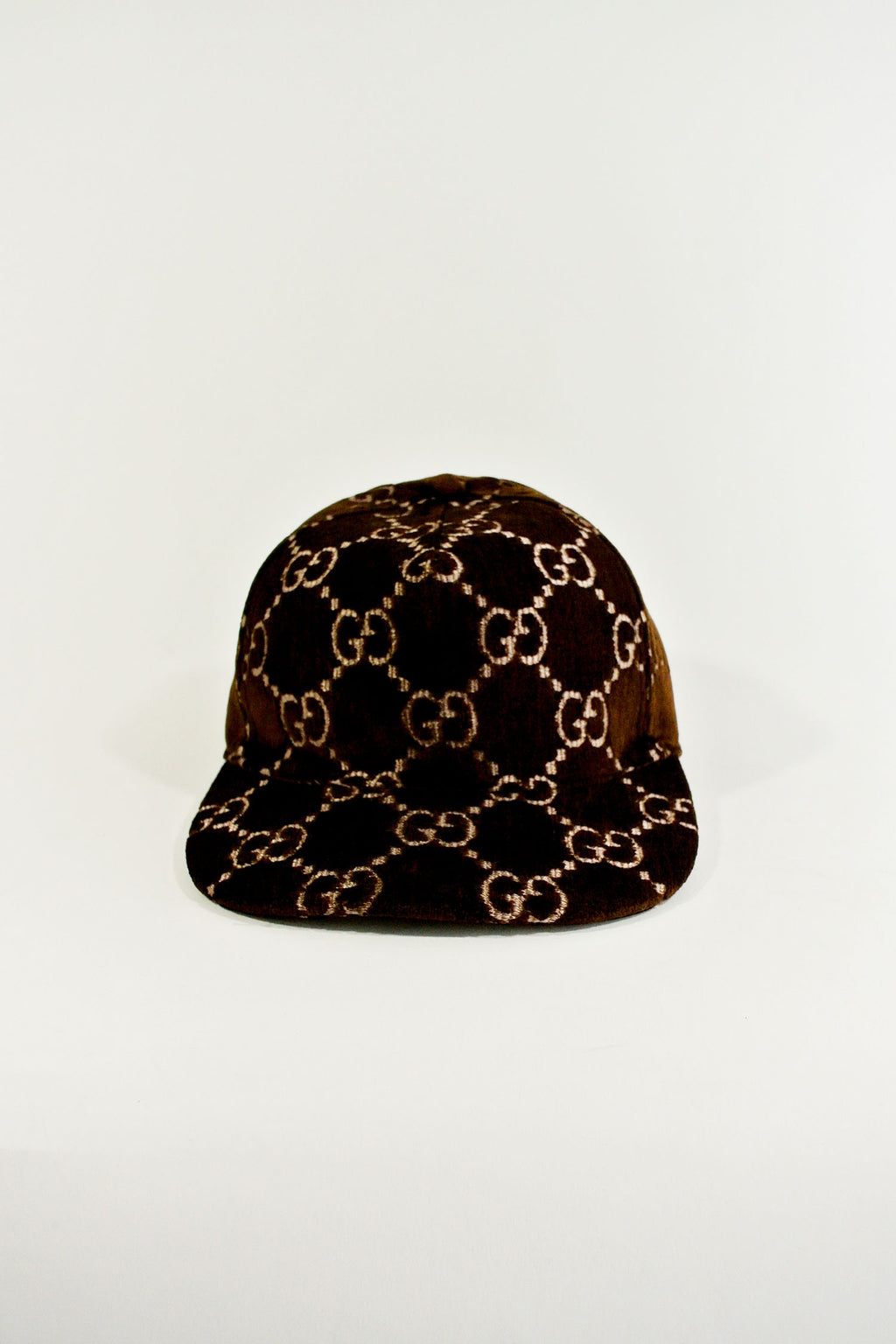Gucci Brown Monogram Velvet Hat NWT