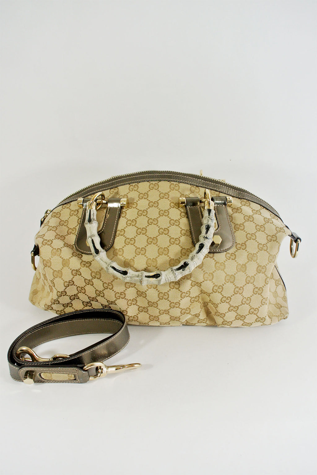 Gucci Monogram Bamboo Handle Crossbody Bag