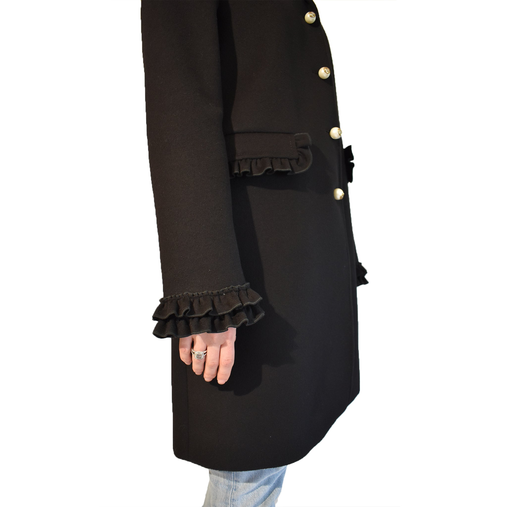 Gucci Wool Coat w Pearl Buttons