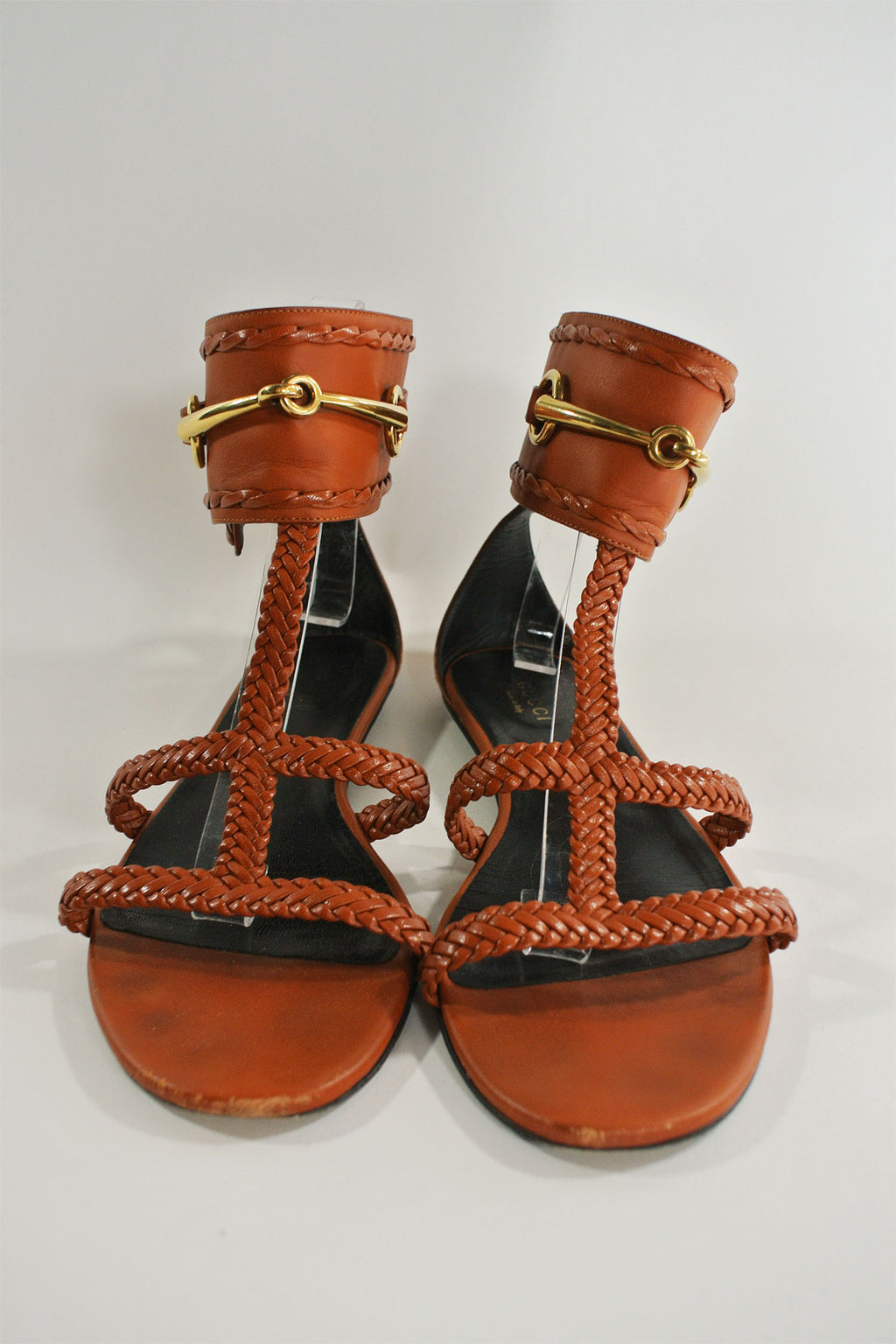 Gucci Brown Horsebit Sandals Sz 36.5