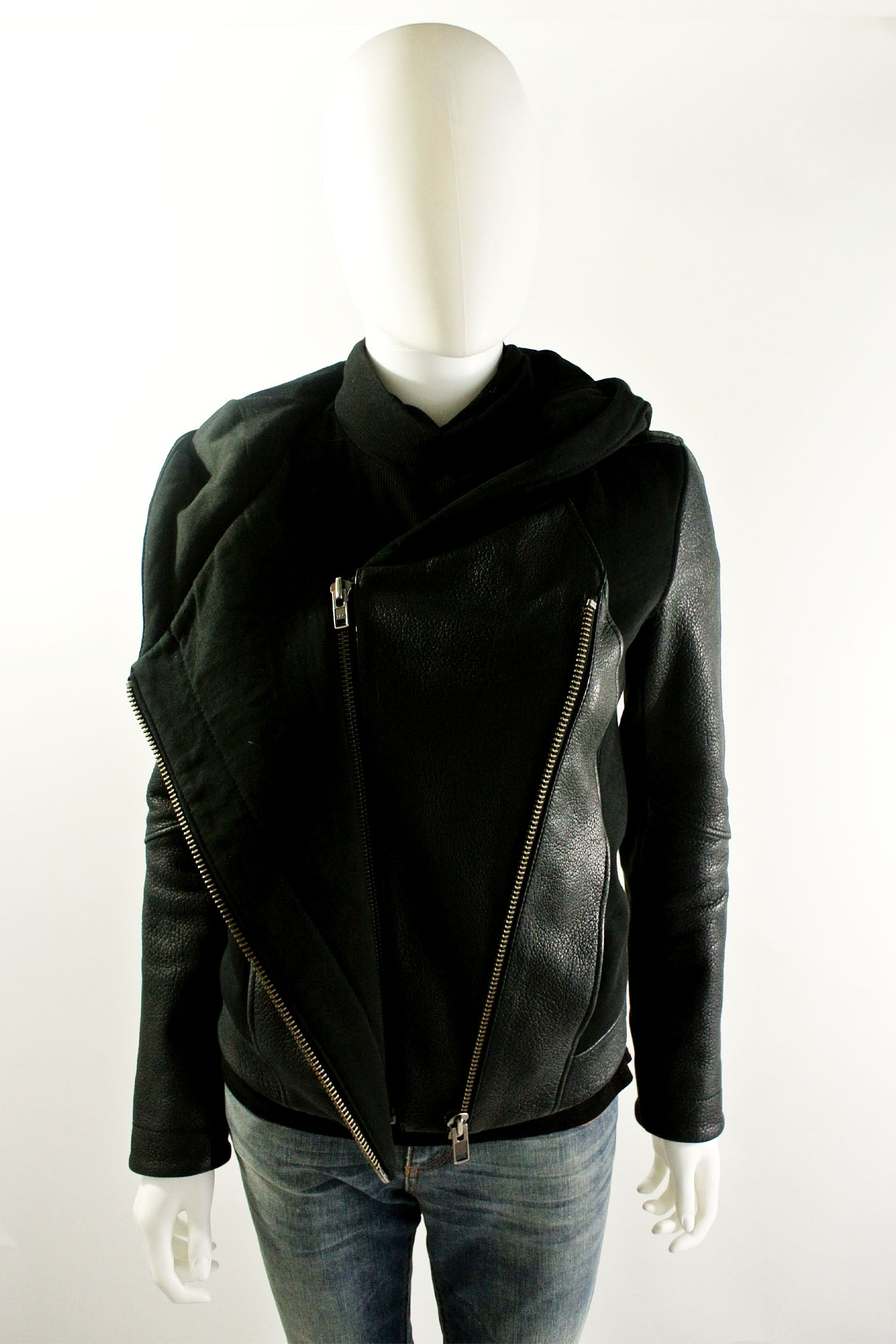 Helmut Lang Hooded Leather Jacket sz P