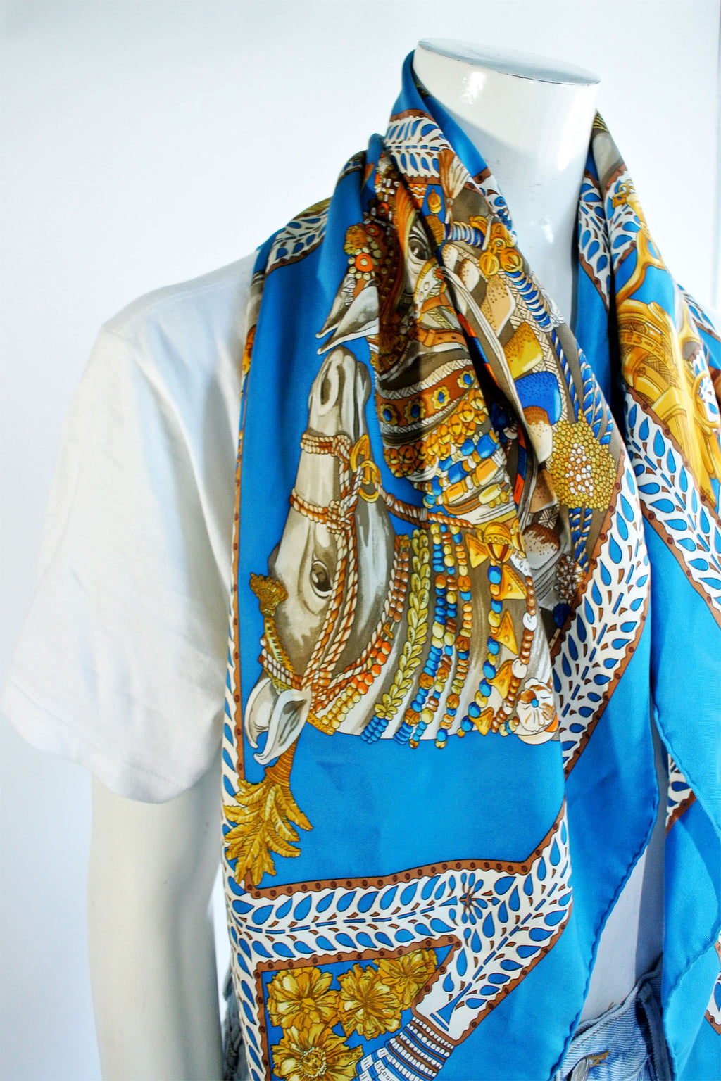 Hermes Blue Multicolour Silk Scarf