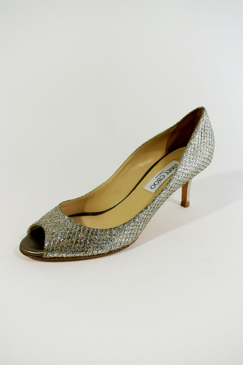 Jimmy Choo Evelyn Glitter Pumps Sz 37
