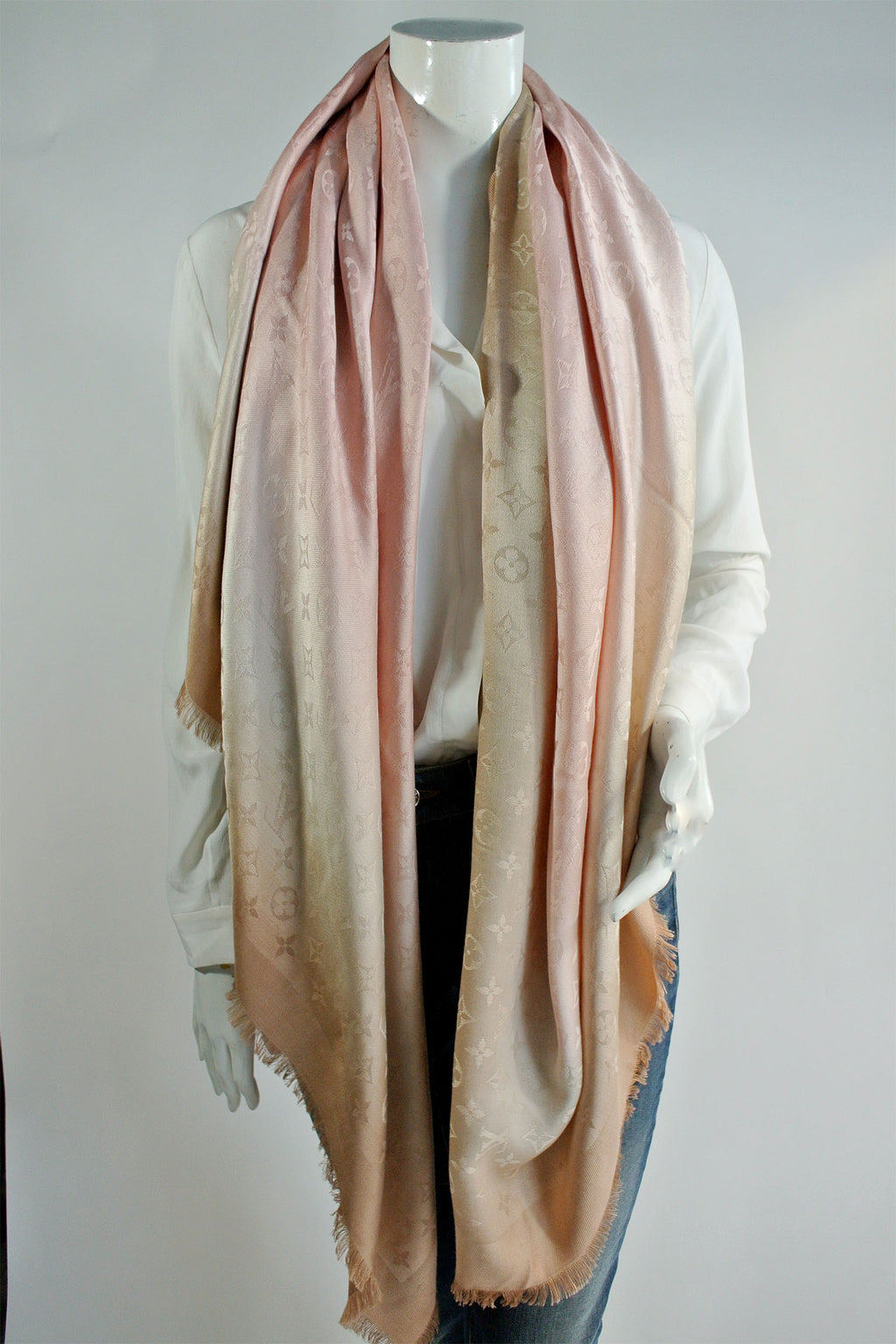 Louis Vuitton Silk Wool Pink Ombre Scarf