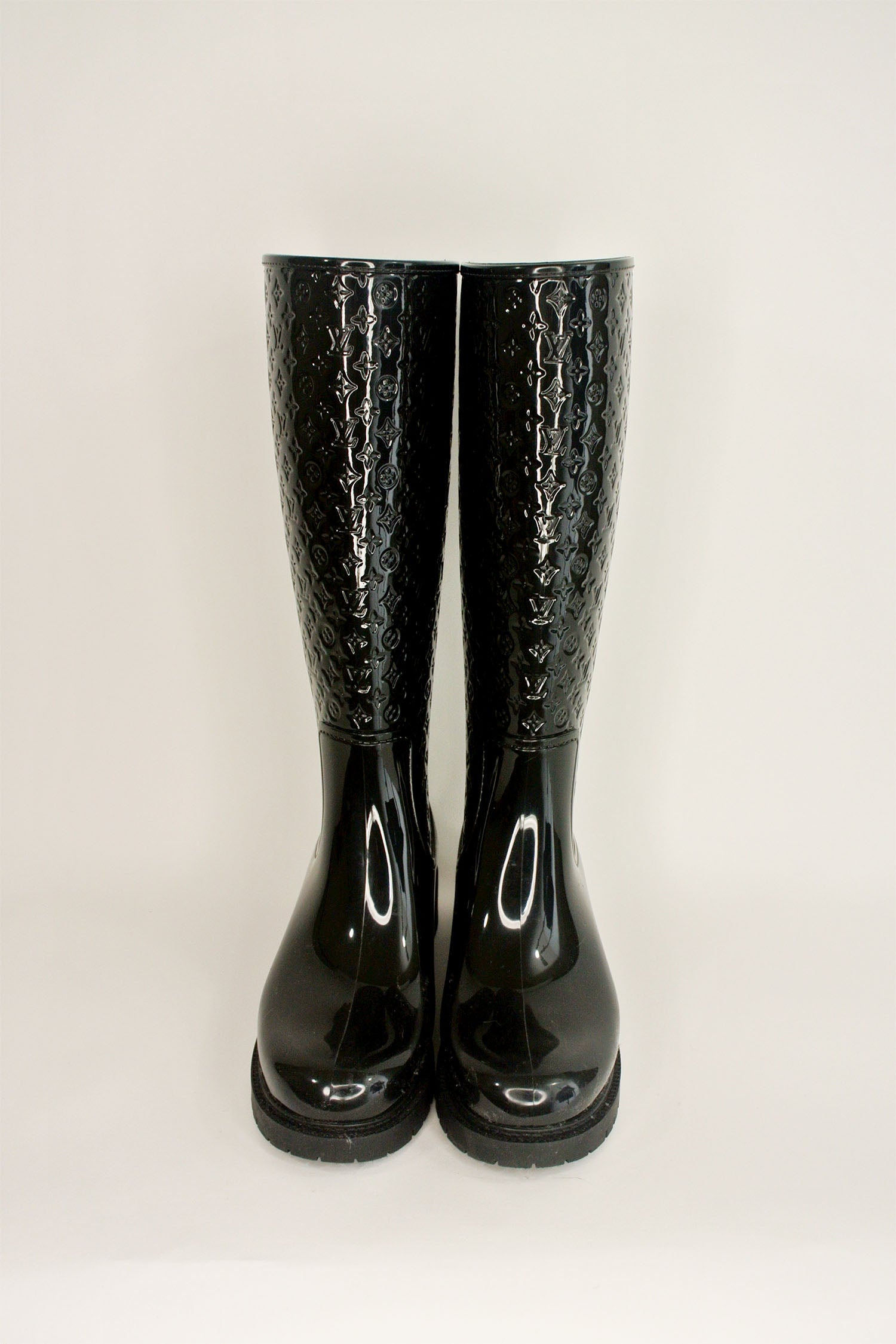 Louis Vuitton Monogram Black Rain Boots Sz 38