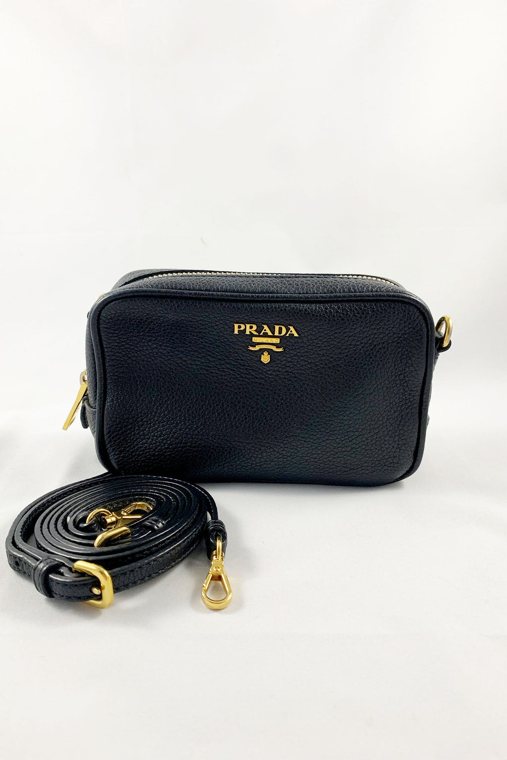Prada Black Vitello Daino Mini Camera Bag