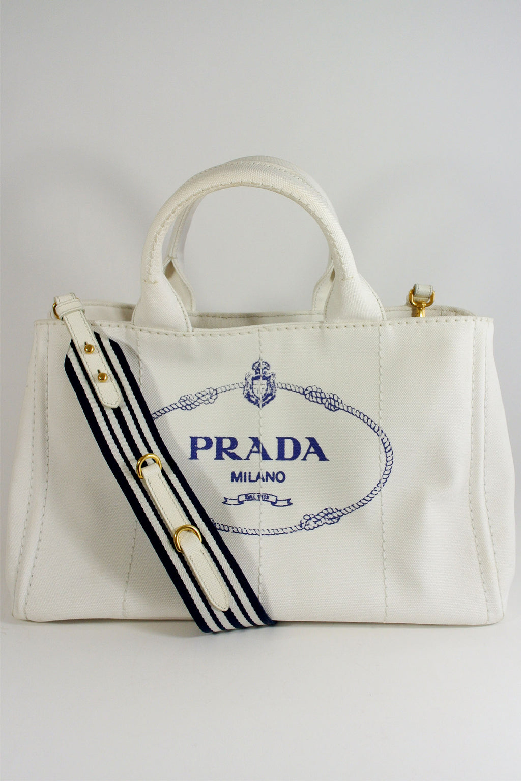Prada White Canapa Canvas Tote