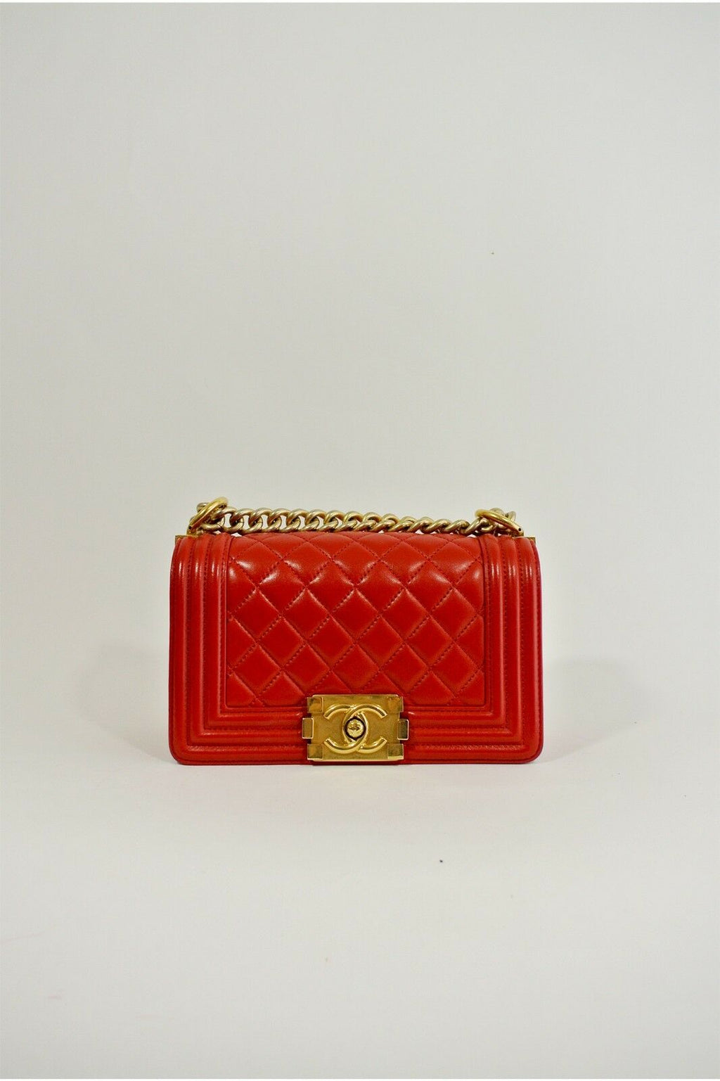 Chanel Small Boy Bag Crimson Red