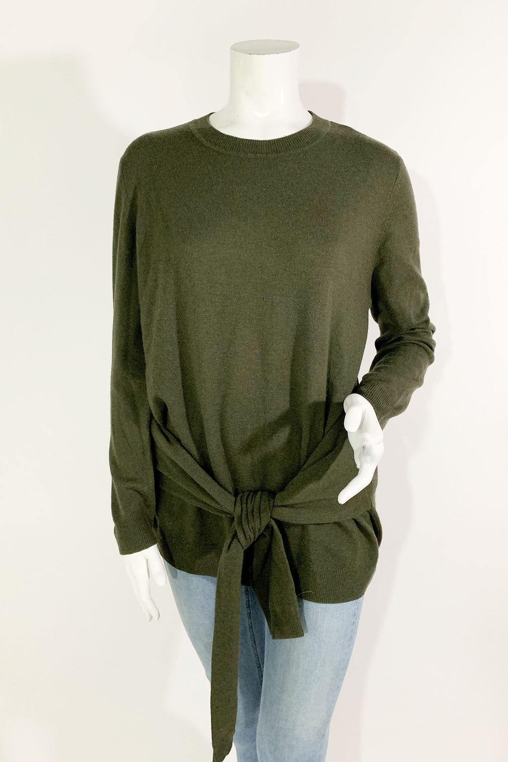 Sandro Green 'Sofy' Tie-Front Wool Cashmere Sweater