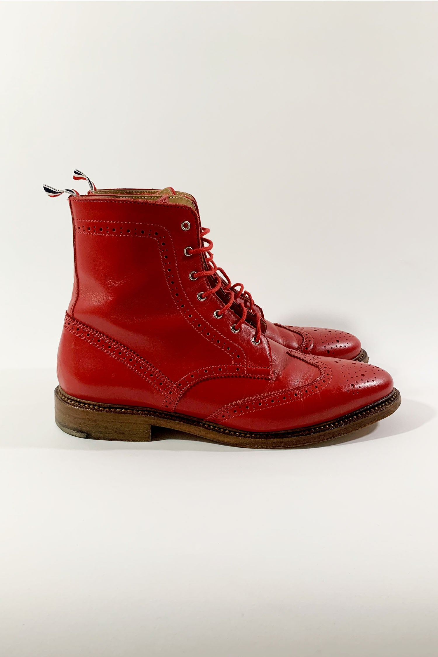 Thom Browne Red Wingtip Leather Boots sz 40
