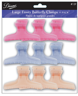 "Diane Large Frosty Butterfly Clamps 3 1/4"" 13F"