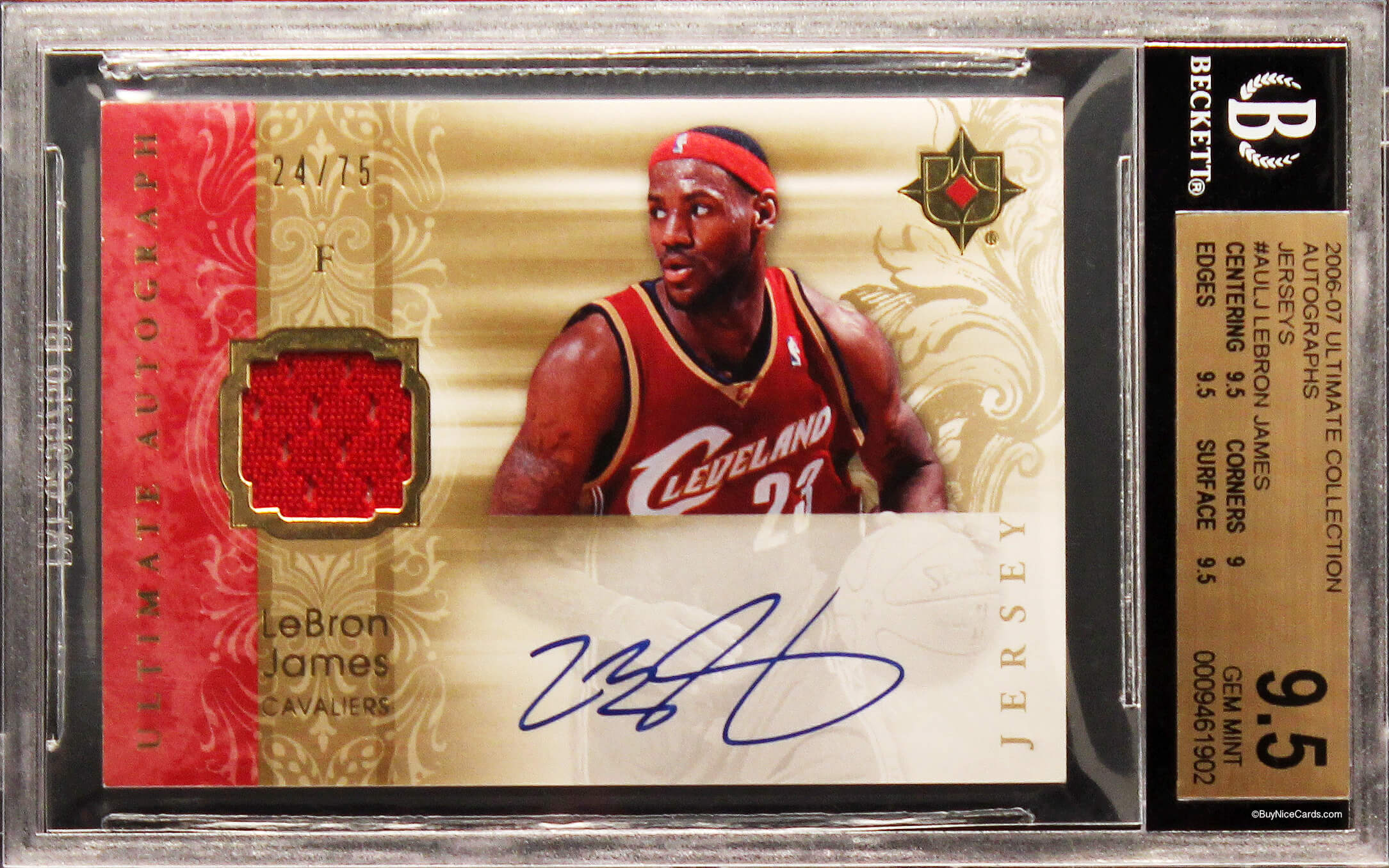 7d3ebeea92afa 2006-07 Lebron James Upper Deck Ultimate Game-Used Patch Auto  75 BGS 9.5