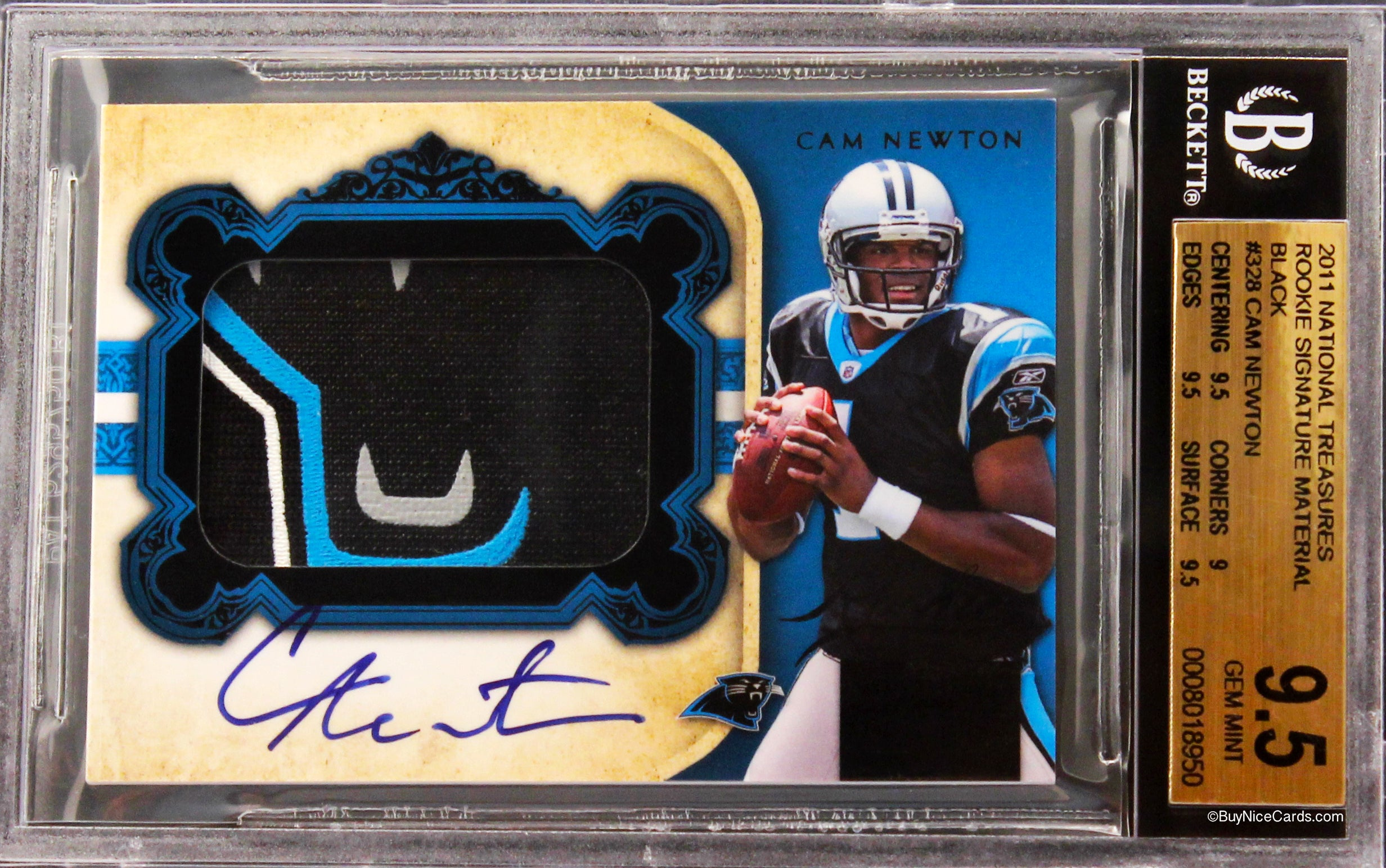 2011 Cam Newton National Treasures Black Rc Rookie Patch Auto 2525