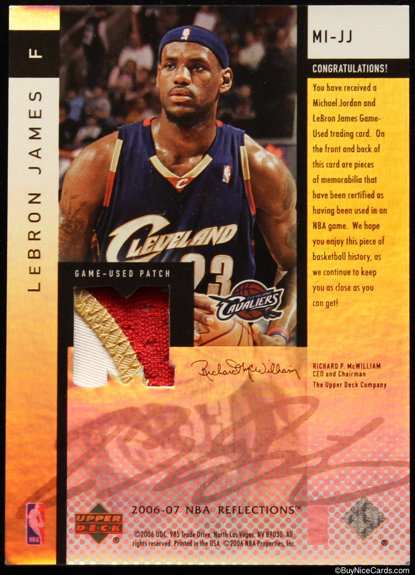 6023c95f98c61 2006-07 Lebron James - Michael Jordan UD Reflections Game Used Dual Patch   50