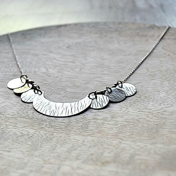 Silver Moonlight Textured Necklace