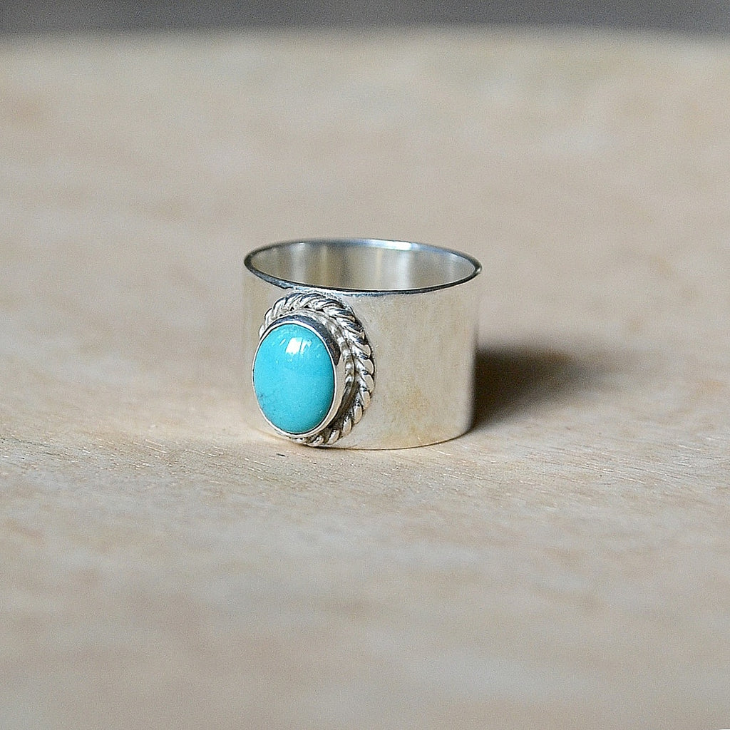 Silver + Turquoise Rope Ring