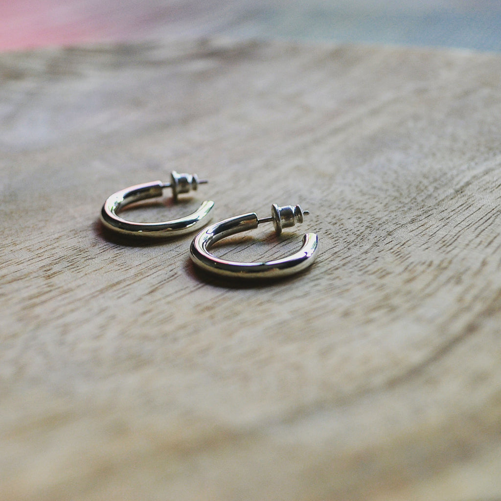Silver Thick Hoops
