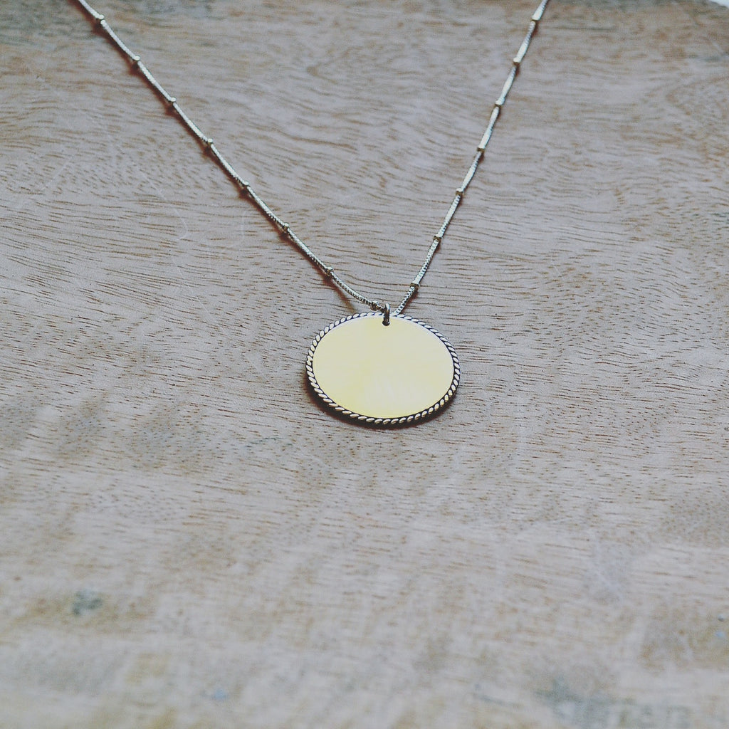 Silver Twist Disc Necklace