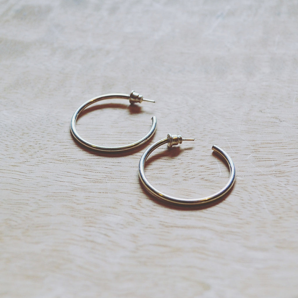 Silver Thin Hoops