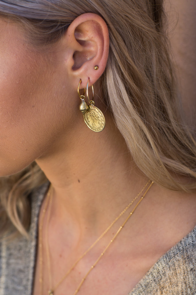 Golden Shell Hoops