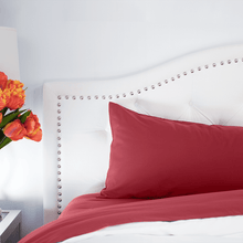 Load image into Gallery viewer, Deep Crimson Red Pillowcase Set