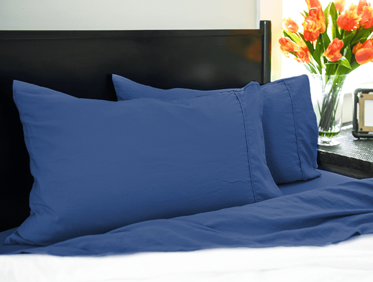 image of Vintage Navy Pillowcase Set