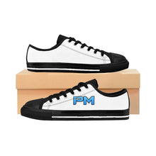 "Load image into Gallery viewer, P.M. - ""Perfect Makeup"" Line - Baby Blue Logo Custom Design Women's Low-Top Sneakers"
