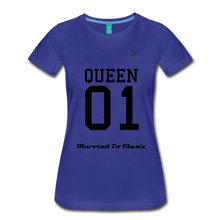 "Load image into Gallery viewer, Women DJ's Dream Logo - ""Married To Music"" Queen 01 Women's Premium T-Shirt - royal blue"
