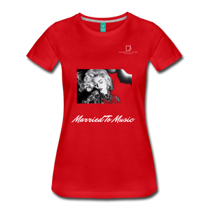 "Women DJ's Dream Logo - ""Married To Music"" Iconic Madonna Women's Premium Black T-Shirt - red"